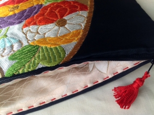 Vintage Japanese obi clutch with zip and lined with kimono silk