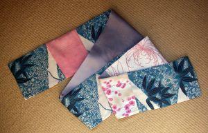 Kimono silk scarf with beautiful pinks and teal