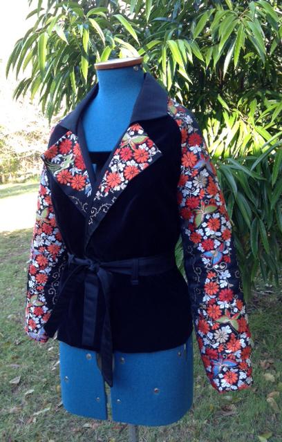 Velvet jacket with vintage obi sleeves and lapel