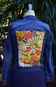 Denim jacket with Obi silk feature and hand-stitching