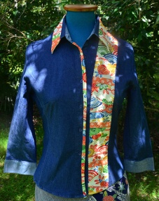 Stretch denim shirt with silk and handstitching