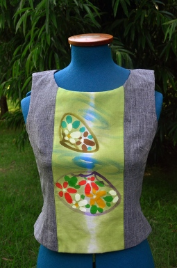 Grey top with hand-painted cotton panel