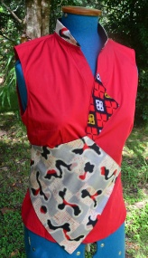 Red shirt featuring kimono silk additions